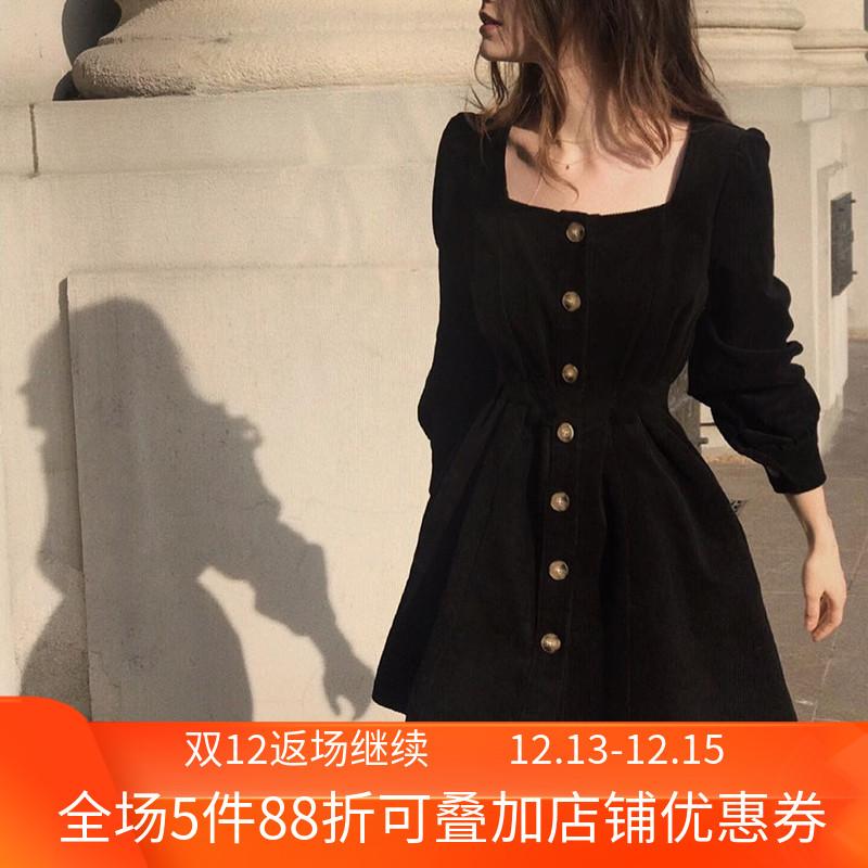 法式复古宫廷灯芯绒纽扣小方领连衣裙女时尚街拍收腰显瘦气质裙子