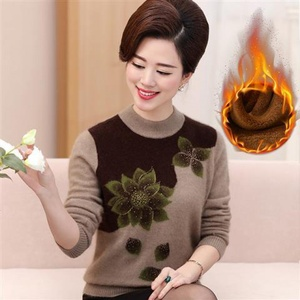 Middle-aged and elderly women's sweaters sweaters plus size winter mother's clothing plus velvet thick loose middle-aged undershirt sweater 66
