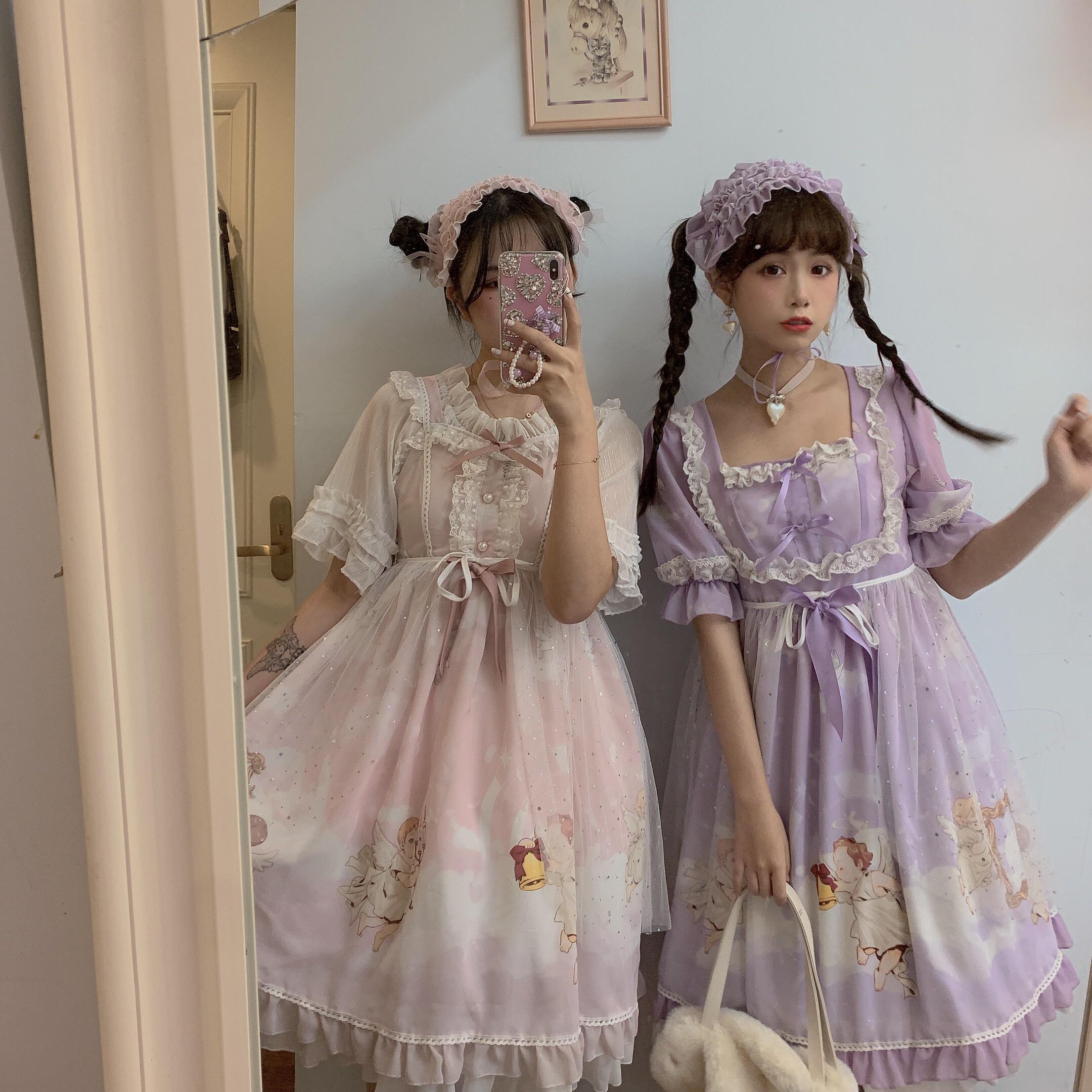 【森女想去海边】游离云间原创lolita连衣裙天使印花请收藏加购