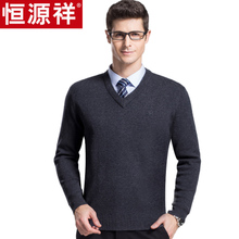 Hengyuanxiang sweater men's new casual V-neck men's sweater thickening warm pure wool sweater in autumn and winter