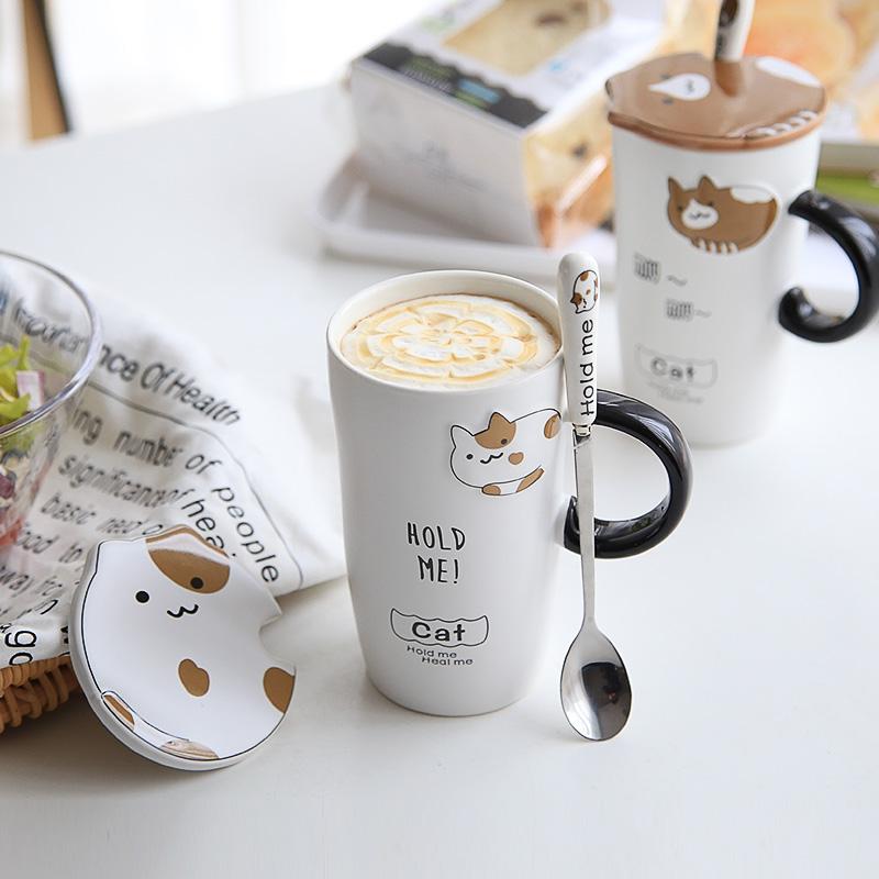 创意卡通陶瓷杯子可爱情侣一对水杯韩版女学生马克杯带盖勺子潮流