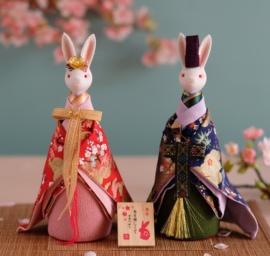 日本和服情侣兔子音乐盒八音盒结婚贺礼压床娃娃新婚摆件中秋礼物