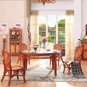 Real rattan residential furniture simple and stylish rattan table and chair dining table and dining chair combination dining room living room rattan chair hotel garden