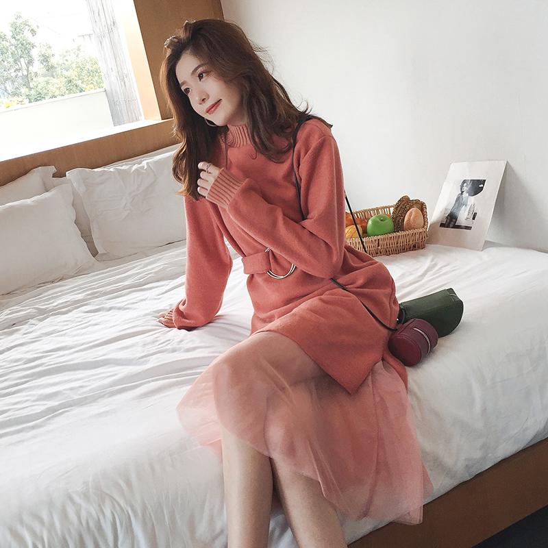 秋冬装新款温柔收腰毛呢连衣裙女中长款高腰网