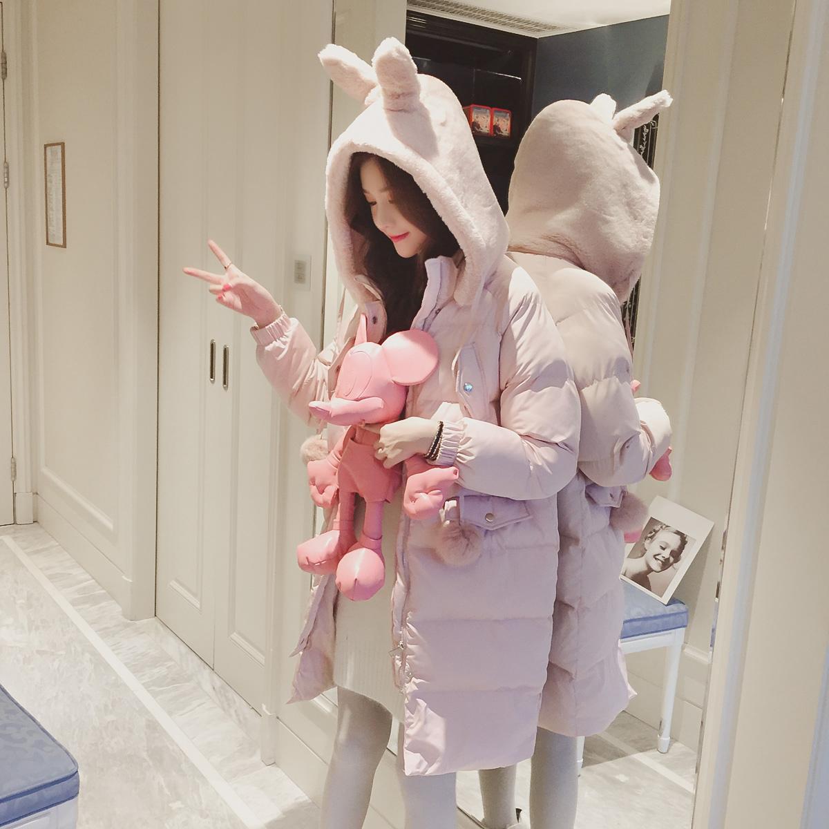ulzzang可爱连帽棉衣女中长款学生加厚棉袄冬季韩版2017新款外套