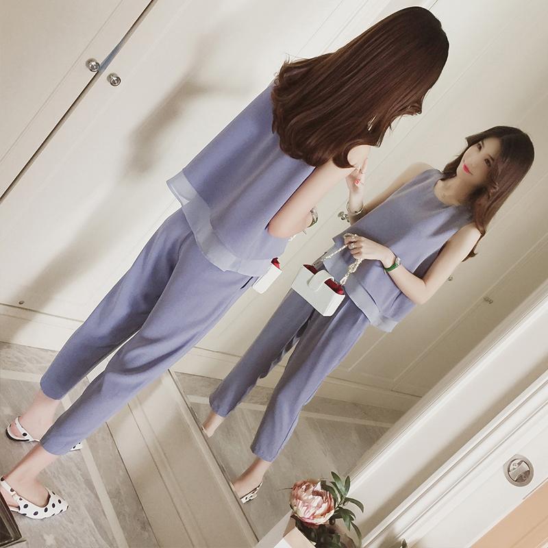 无袖T恤上衣套装女神范时尚夏季2018新款雪纺直筒裤子两件套@