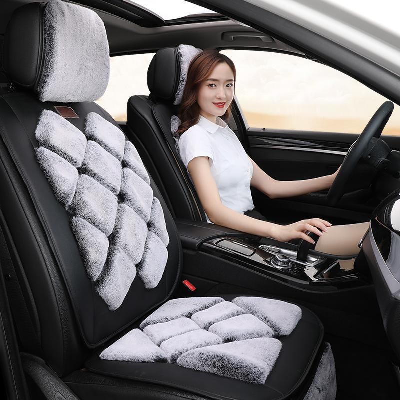 汽车坐垫冬季毛绒座垫三件套车垫网红新款冬天保暖短毛垫后排垫子