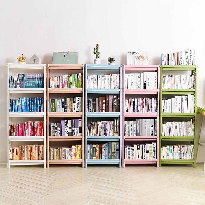 学生简易书架儿童单个书柜飘窗塑料架书架简约落地多层收纳置物架