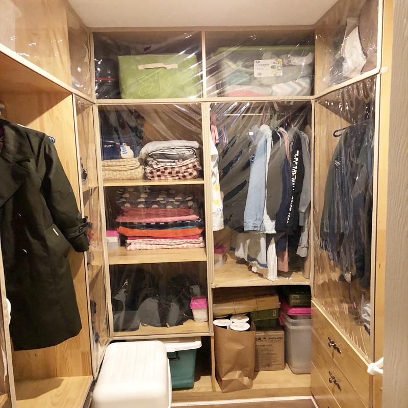 衣帽间防尘帘开放式衣柜橱柜帘子透明环保书柜定做磁性免打孔