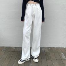 白色直筒牛仔裤女士2021年新款秋冬季高腰宽松老爹阔腿黑色长裤子
