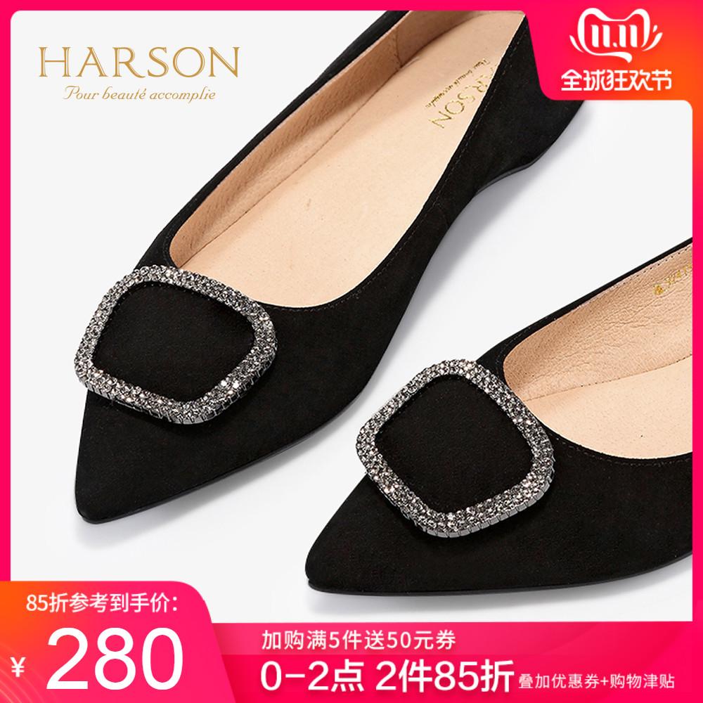 哈森2019秋季新款羊反绒尖头内增高平底单鞋女 休闲奶奶鞋HL92411