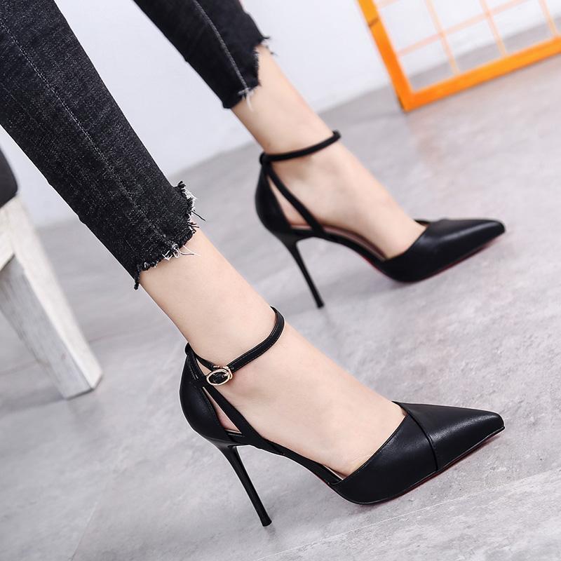 一字扣带米白色高跟鞋女细跟10cm黑色中空尖头单鞋2019新款百搭潮