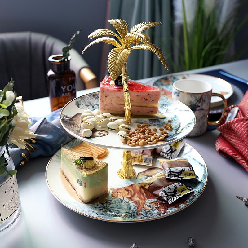 轻奢丛林动物双层陶瓷水果盘子客厅蛋糕架家用糖果干果点心托盘