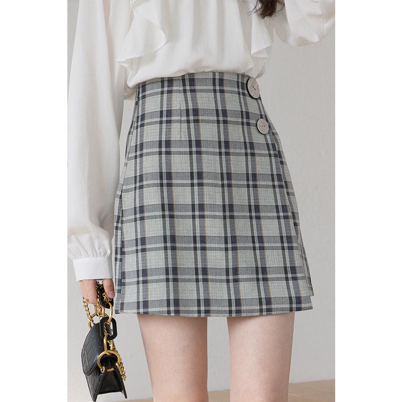 腰格子短裙显瘦chic学生潮