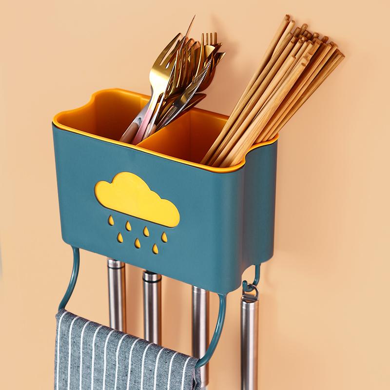 筷子篓置物架筷子笼收纳盒沥水勺子桶家用厨房壁挂式免打孔筷子筒