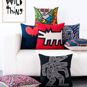 Keith Haring famous painting modern creative simple Nordic cotton and linen sofa cushion pillow pillow