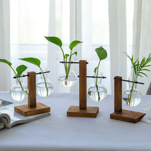 创意木架水培花瓶客厅办hn8室桌面绿i2明玻璃花器(小)容器摆件