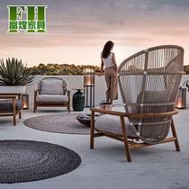 北欧藤编沙发设计师单人休闲阳台绳编户外花园庭院露台小藤椅家具