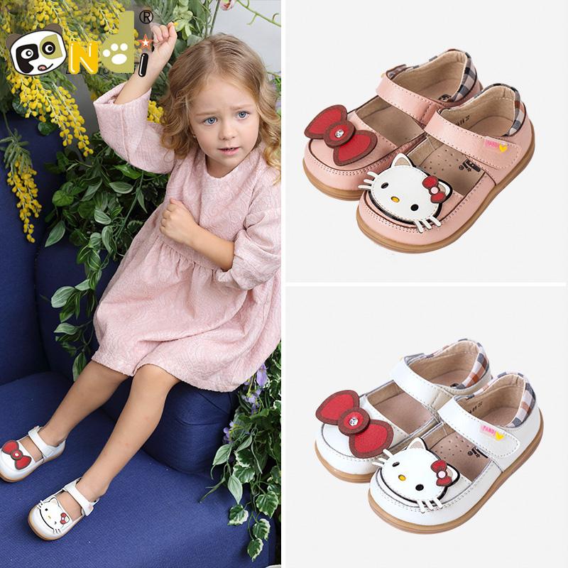 熊猫胖迪宝宝秋款鞋子女童公主鞋儿童鞋子女猫咪卡通鞋真皮鞋垫