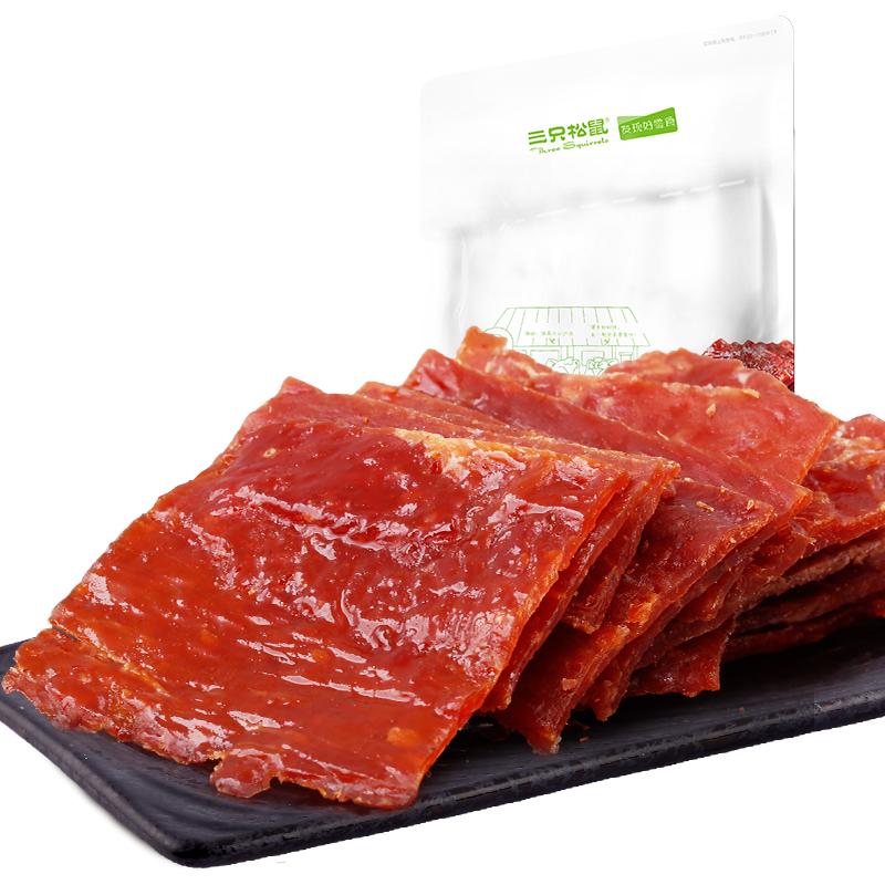 三只松鼠 猪肉脯自然片150g休闲零食批发小吃猪肉干靖江风味