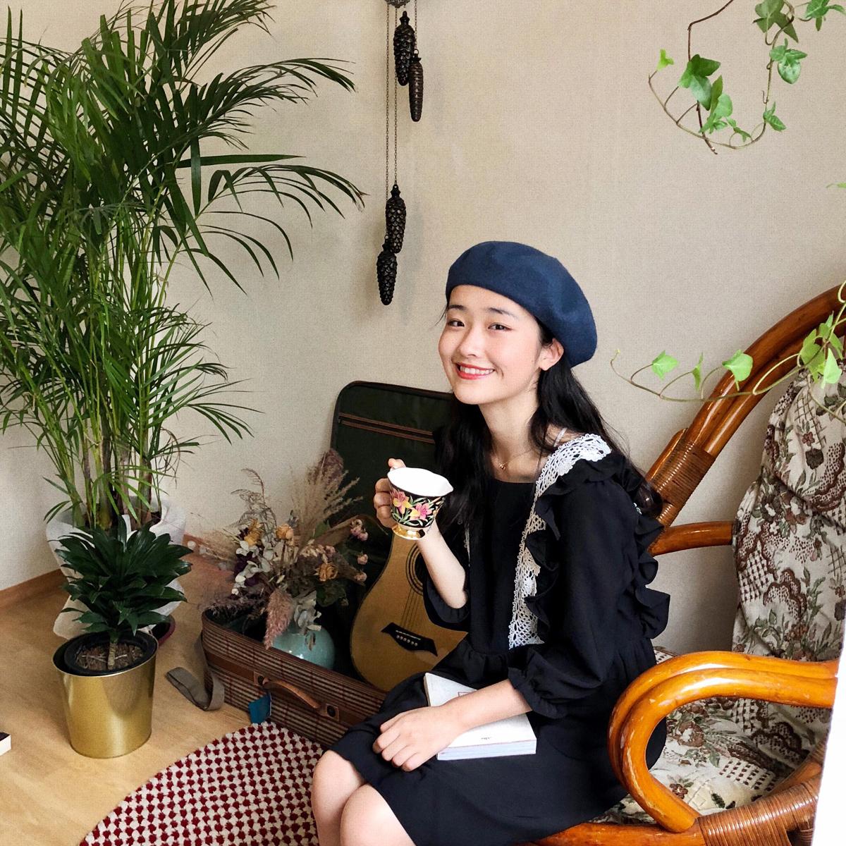 小树 复古 少女 黑色 花边 连衣裙 韩国 新款