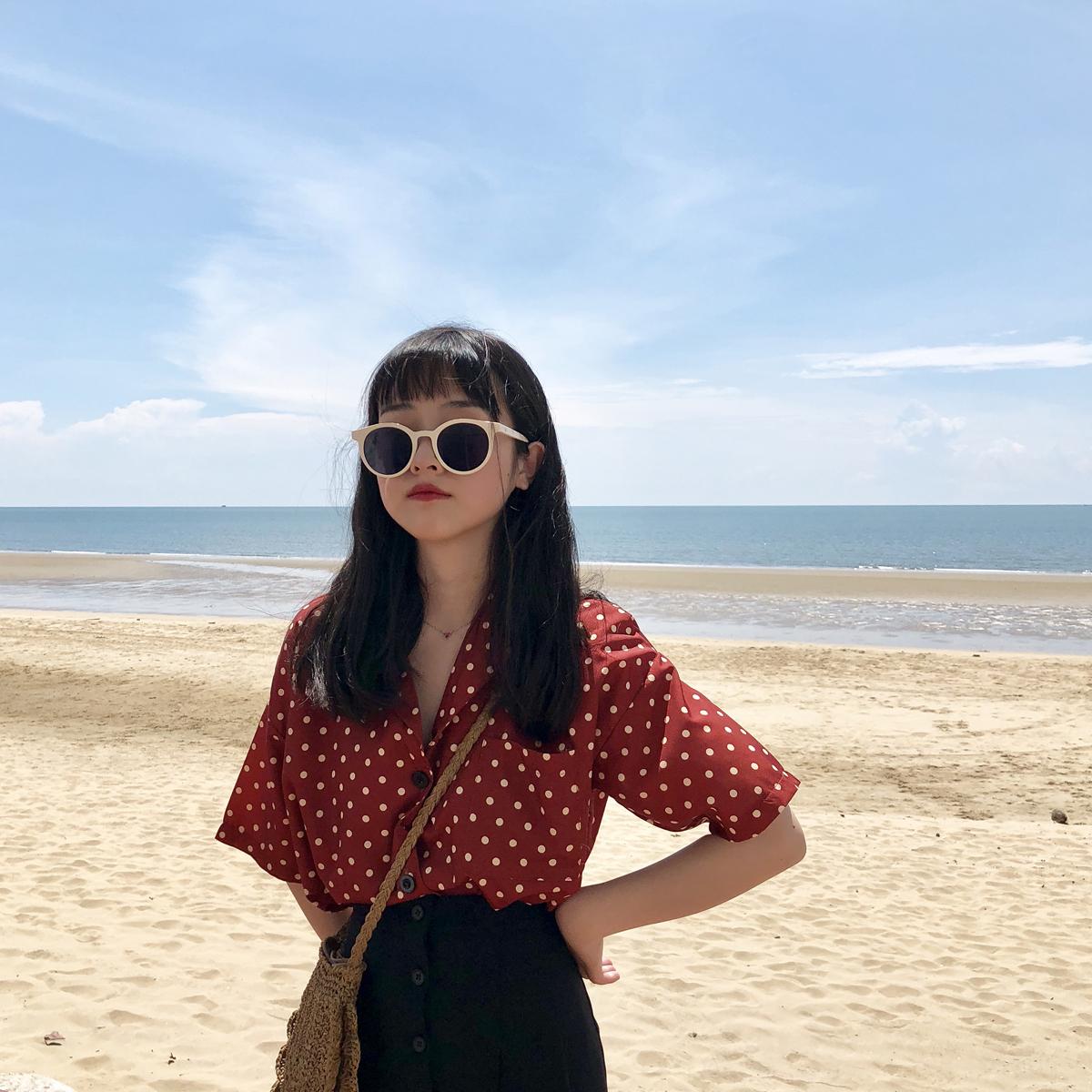 现货YUKI小树家波点衬衫女好看死了韩国东大门夏季新款 c0567
