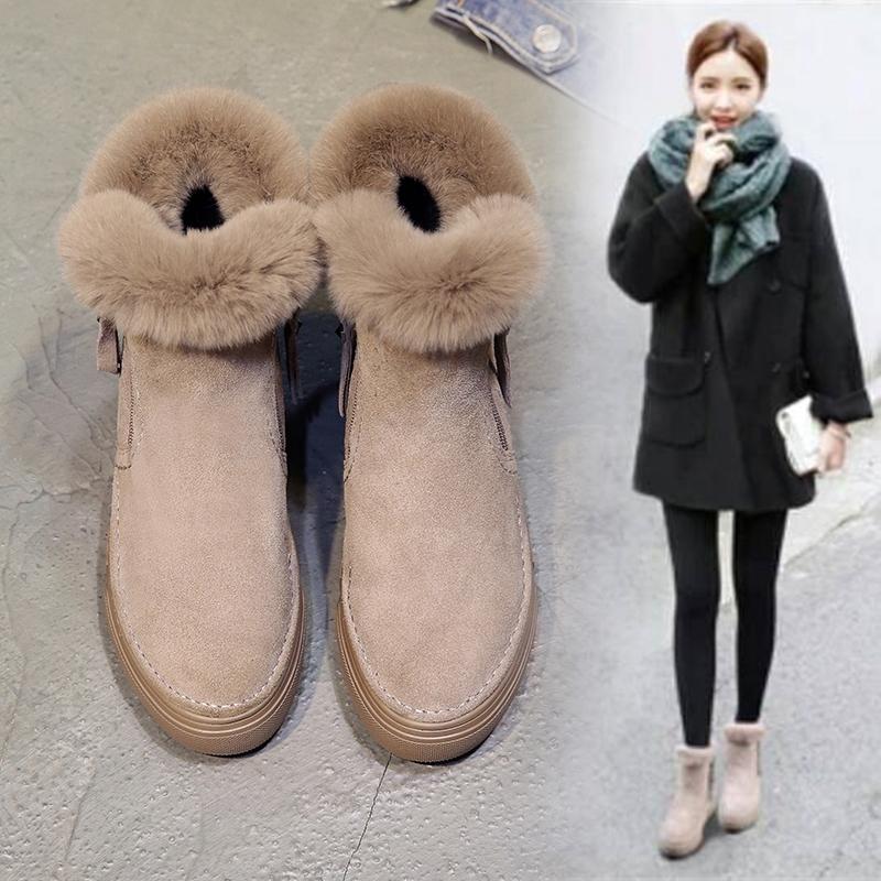 兔毛雪地靴女冬季2018新款韩版百搭短靴加绒保暖棉鞋侧拉链马丁靴
