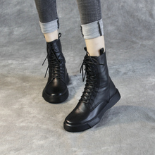 清轩2021新款女靴欧美真皮马丁sl13女厚底vn军靴侧拉链短靴
