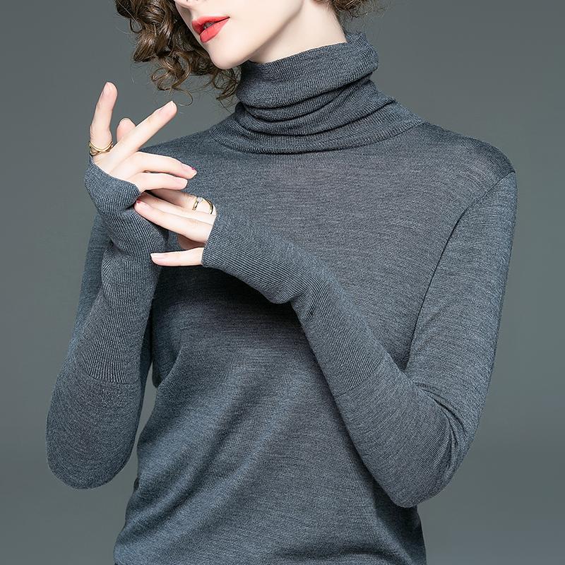 巴素兰羊毛小衫女秋季新款针织衫高领打底衫女装长袖上衣时尚毛衣