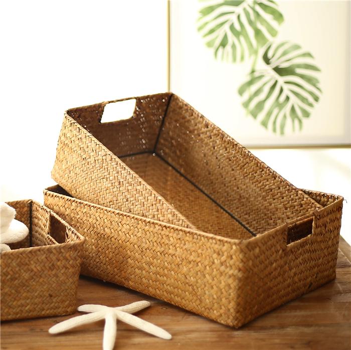 草编长方形收纳盒海草藤编竹编编织收纳筐桌面零食储物篮子置物篮