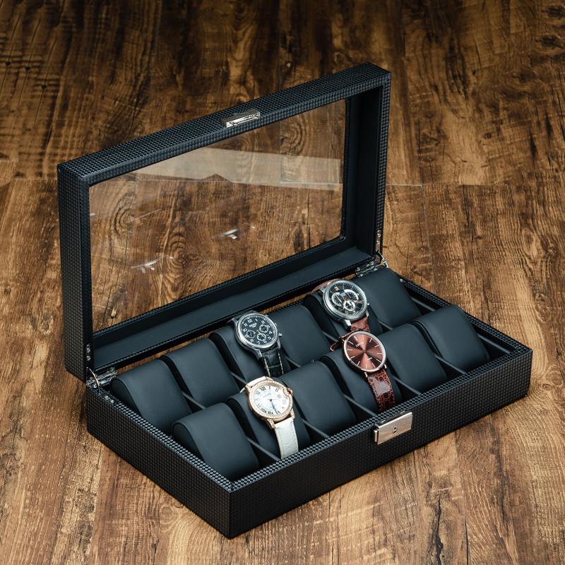 碳纤维皮质手表盒收纳盒手链首饰礼品珠宝整理展示盒 男女表收藏