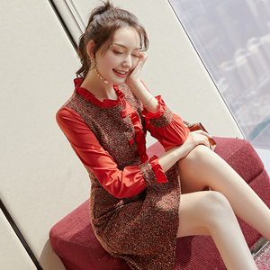 2020 spring new women's French retro design in the long long-sleeved dress was thin waist temperament