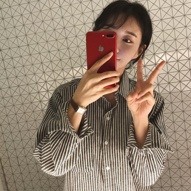完爱韩国代购 中长款宽松 女长袖百搭 侧开叉竖条纹衬衫 上衣