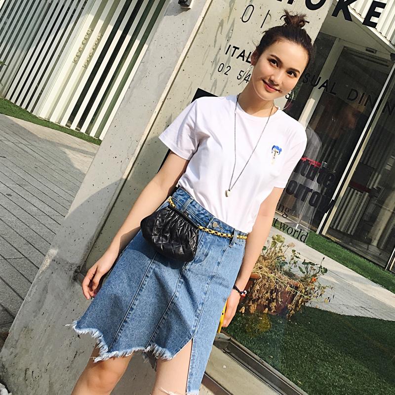 韩版不规则牛仔半身裙女 毛边短裙HD7205