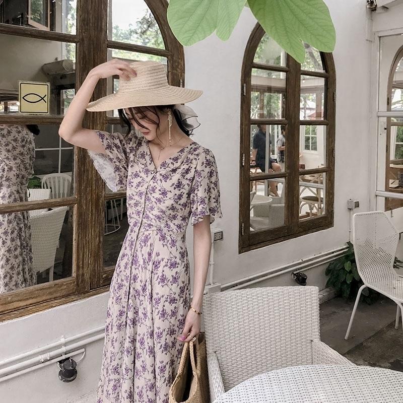 紫色 连衣裙 夏装 新品 绑带 喇叭 短袖 碎花