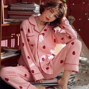 纯棉睡衣女春秋季开衫休闲家居服套装长袖宽松纽扣全棉睡衣睡裤薄