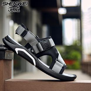 2018夏季新款潮流韩版男士运动户外凉鞋沙滩鞋拖鞋软底休闲布凉鞋