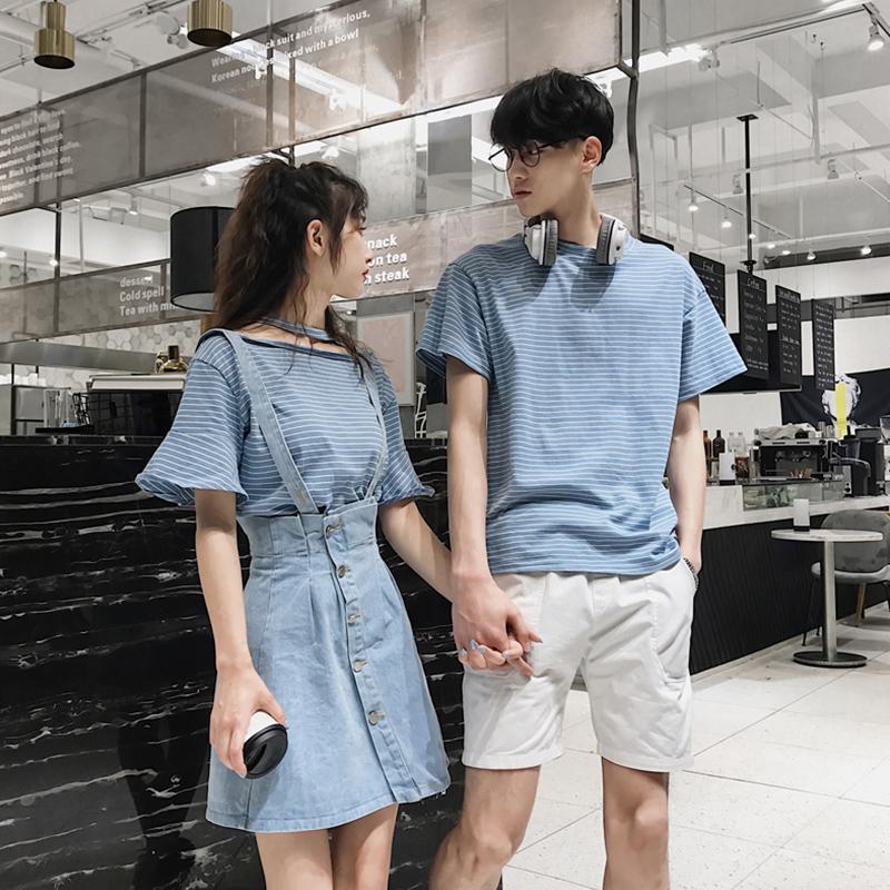 情侣装夏装2020新款ins超火小众设计感短袖夏季气质连衣裙女套装