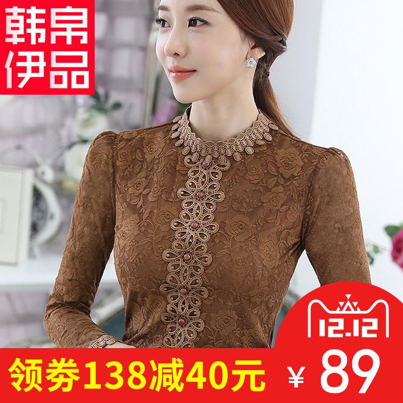 蕾丝衫女长袖2017秋冬新款韩版潮女装立领百搭上衣加绒加厚打底衫