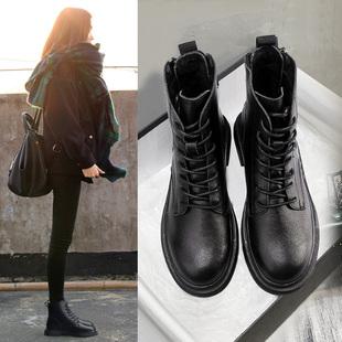 高蒂马丁靴女2020冬季新款百搭显瘦机车靴英伦风加绒真皮帅气短靴