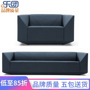 Orchestra Diamond Modern Leather Office Sofa Simple Reception Three Person Office Sofa Coffee Table Combination Furniture