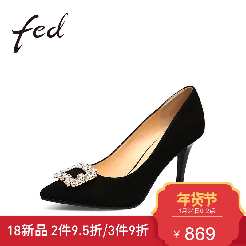 fed新款水钻时尚细跟高跟鞋女 羊皮浅口酒杯跟耐磨单鞋1910575
