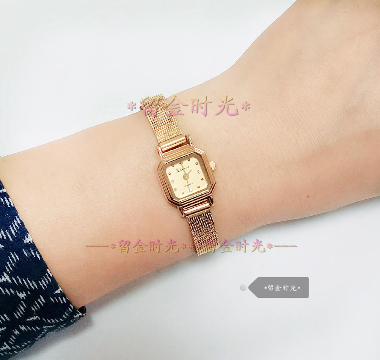 库存手表全新钻石牌迷你超小款进口机芯方形石英编织带女手表481