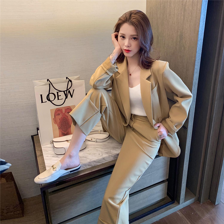 2019春季新款韩版休闲小西装+西服裤子套装女时尚chic气质两件套