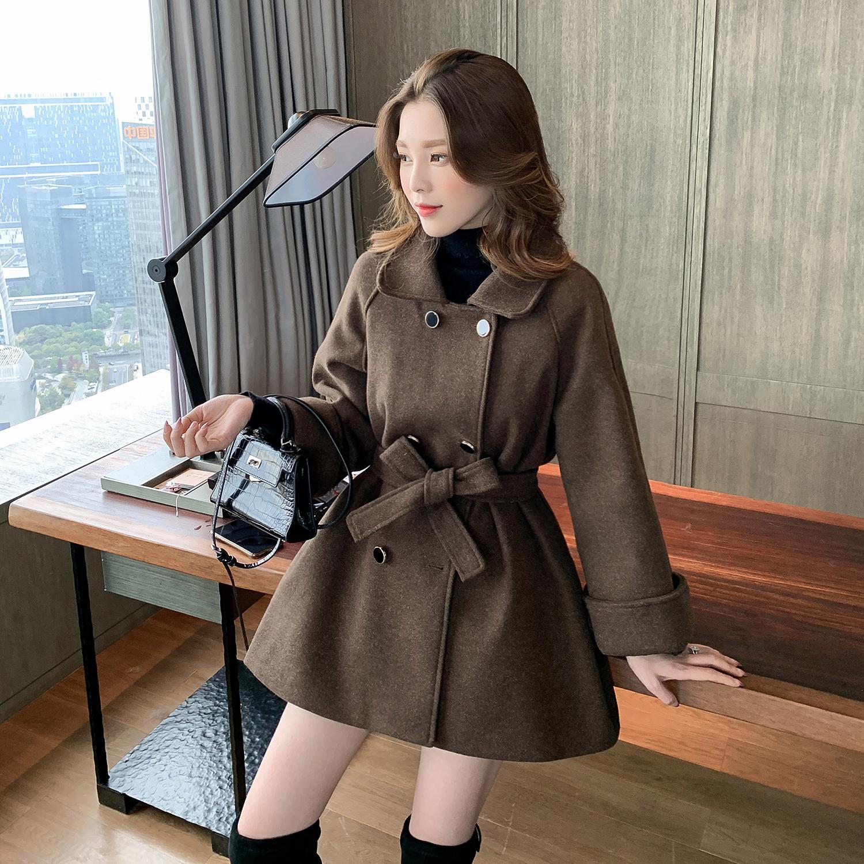 2019冬季新款收腰双排扣毛呢大衣女中长款显瘦外套小个子气质上衣