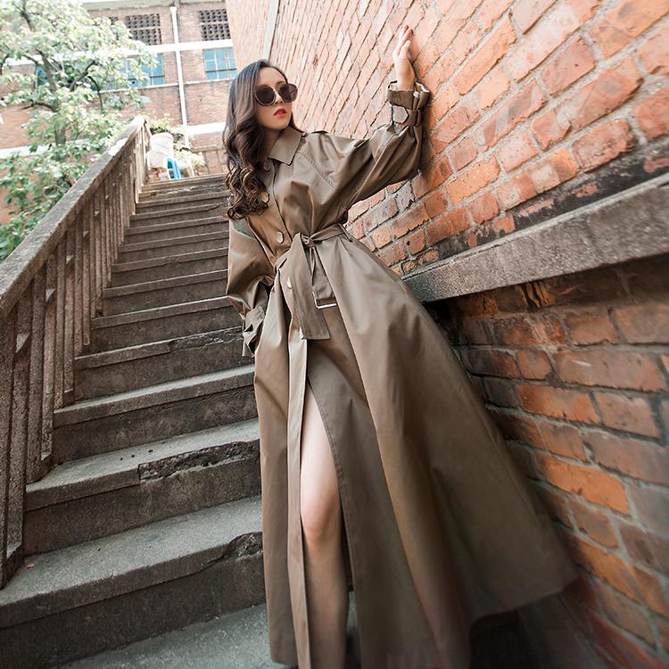 外套女秋冬2019款女士风衣加长款系带连帽时尚潮流修身女装风衣