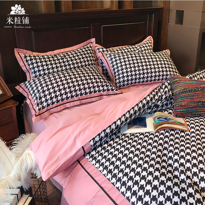 全棉北美绒四件套简约格子轻奢千鸟格小香风纯棉床单床上用品1.8