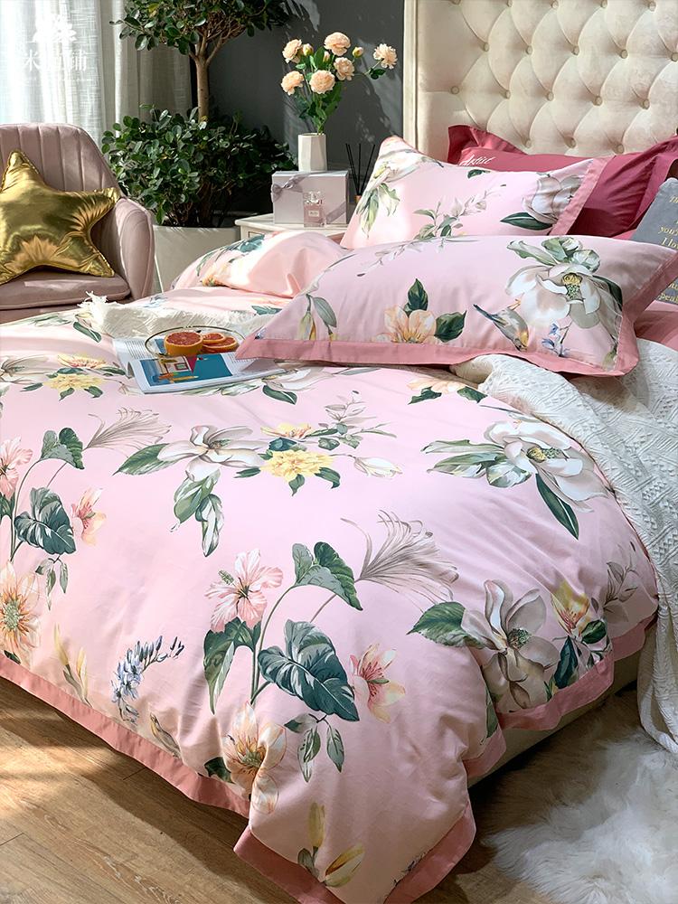 60支贡缎长绒棉四件套全棉纯棉亲肤裸睡田园印花被套床单床上用品