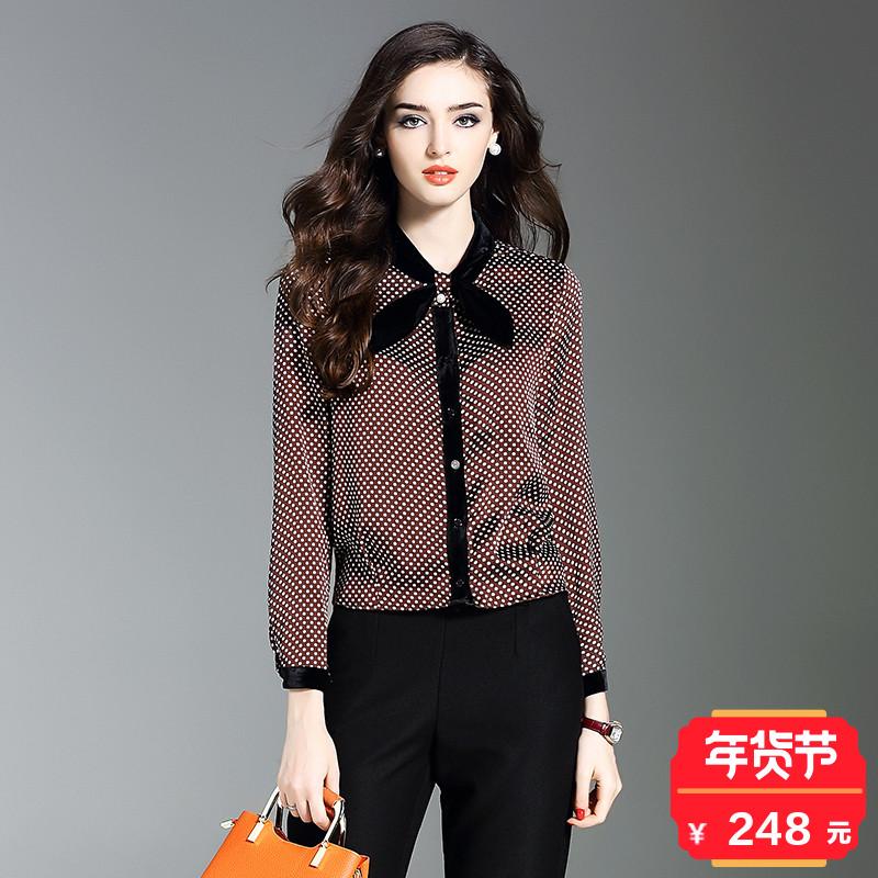 欧洲站蝴蝶结立领波点衬衫女士韩范修身时尚短款收腰寸衫衬衣长袖