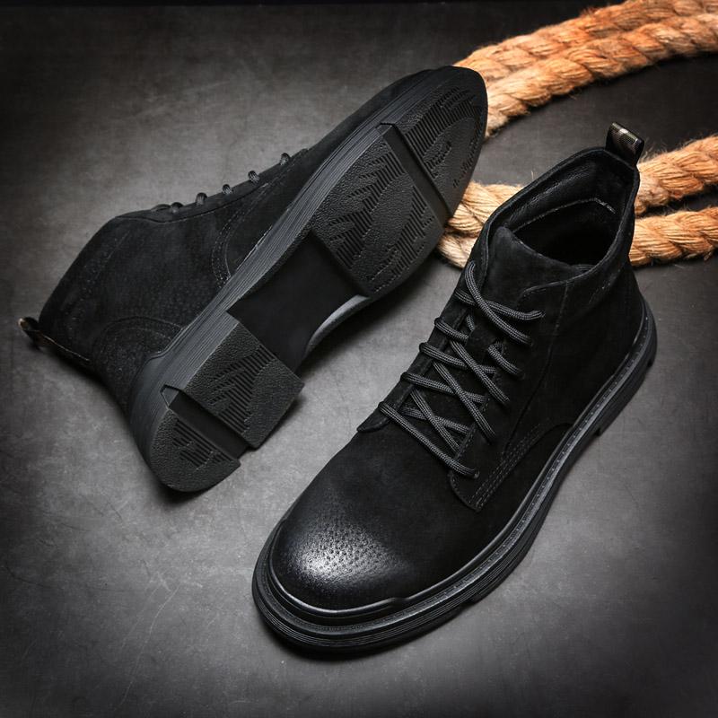 真皮马丁靴高帮中帮男士靴子英伦风短靴工装棉鞋保暖冬季加绒男靴
